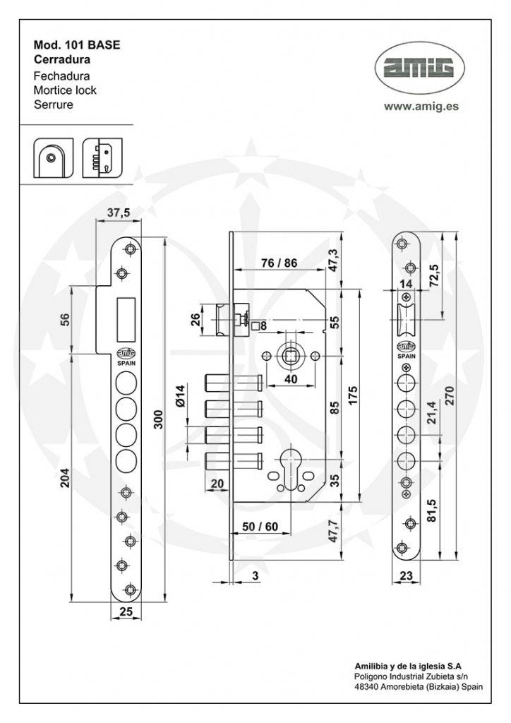 Замок AMIG mod.101 (18774) BASE 85/50 PZ креслення