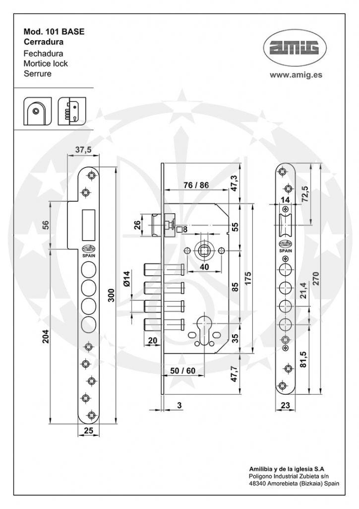 Замок AMIG mod.101 (18773) BASE 85/50 PZ хром сатин