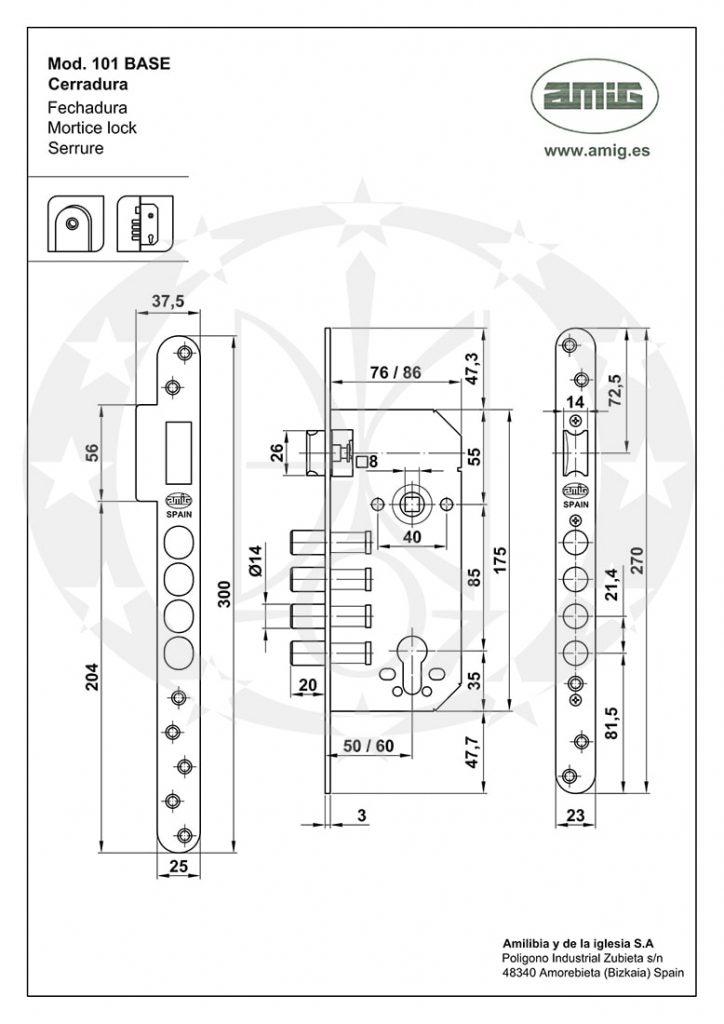 Замок AMIG mod.101 (18776) BASE 85/50 PZ латунь сатин